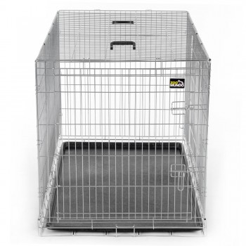 ZOOMUNDO Foldable stainless Animal Cage - Size XXL in Silver – Bild 2