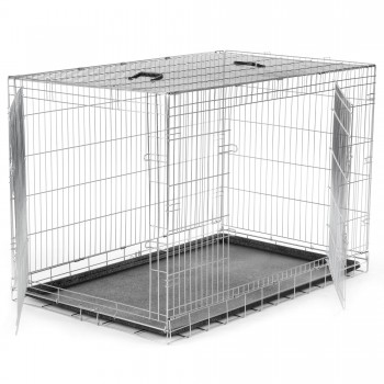 ZOOMUNDO Foldable stainless Animal Cage - Size XXL in Silver – Bild 3