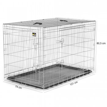 ZOOMUNDO Foldable stainless Animal Cage - Size XXL in Silver – Bild 5