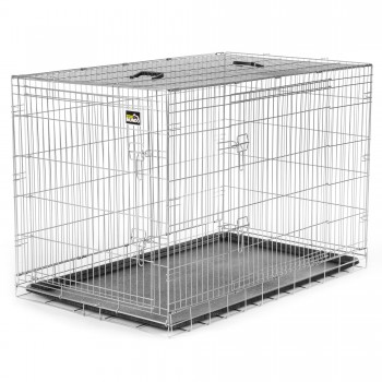 ZOOMUNDO Foldable stainless Animal Cage - Size XXL in Silver – Bild 1