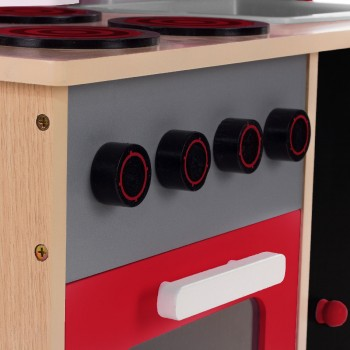 Baby Vivo - Wooden Play Kitchen for Children with Blackboard - Mila in Red – Bild 6