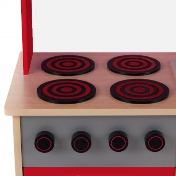 Baby Vivo - Wooden Play Kitchen for Children with Blackboard - Mila in Red – Bild 7