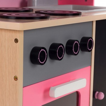 Baby Vivo - Wooden Play Kitchen for Children with Blackboard - Mila in Pink – Bild 6