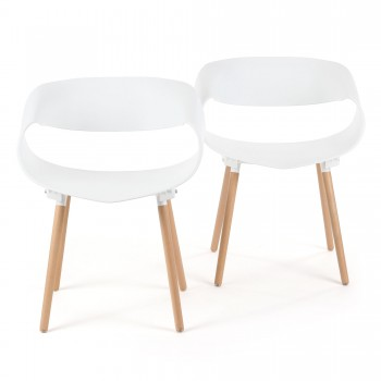 Makika Design Retro Dining Chair Set of 2 - MAYA in White – Bild 2