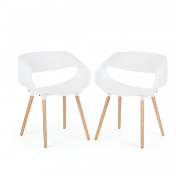 Makika Design Retro Dining Chair Set of 2 - MAYA in White – Bild 1