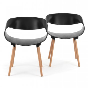 Makika Design Retro Dining Chair Set of 2 - MAYA in Black – Bild 2