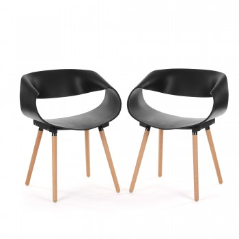 Makika Design Retro Dining Chair Set of 2 - MAYA in Black – Bild 1