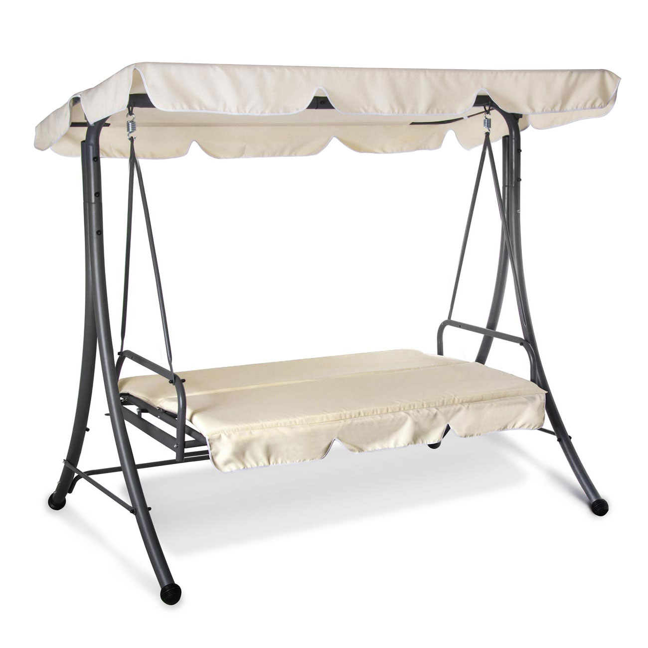 Garden Hammock Swing Chair 3 Seater Lounger Canopy Patio Bench Cushioned Outdoor