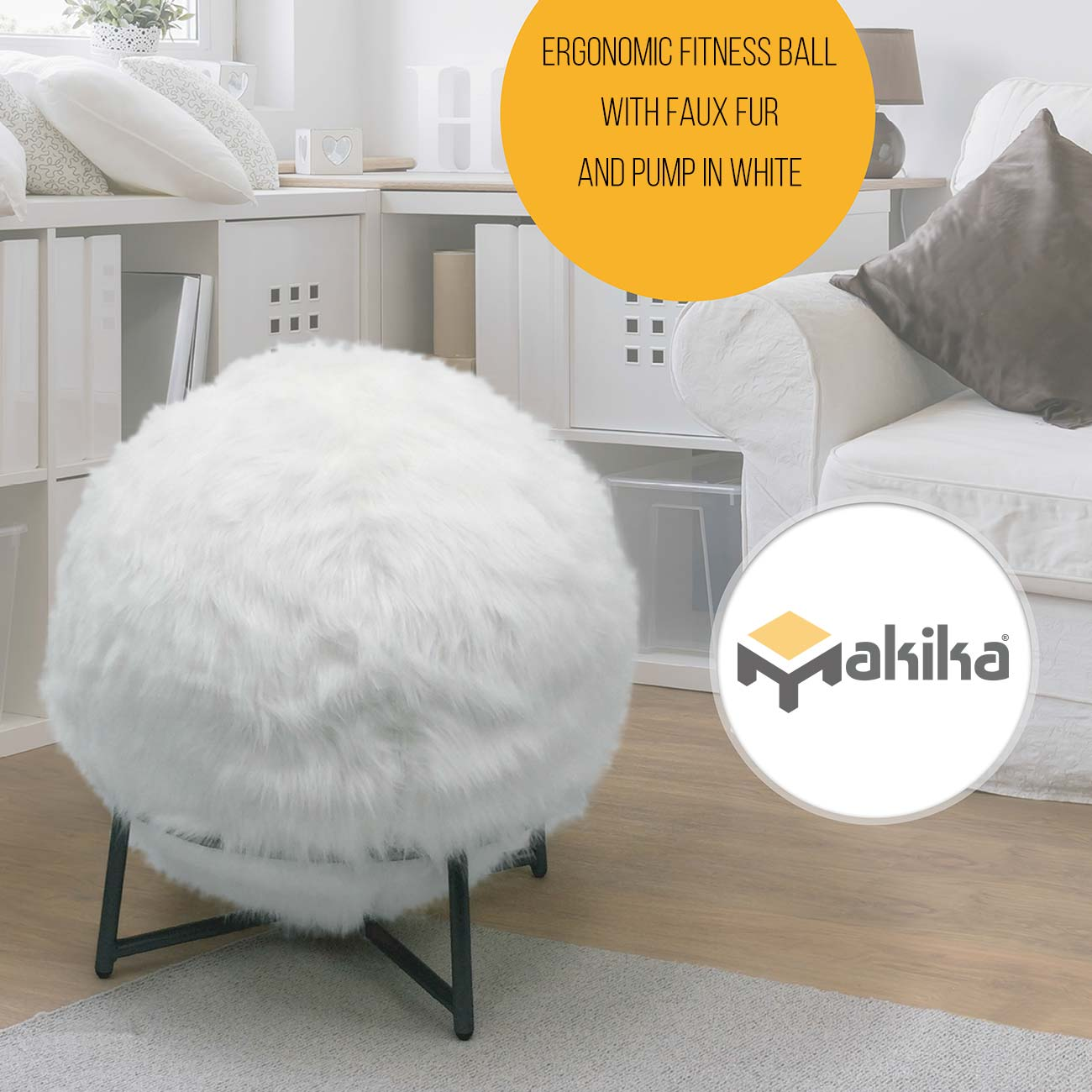 Balance and physical therapy - Makika Exercise Ball For Fitness Yoga Balance Physical Therapy With Faux Fur And Pump In White