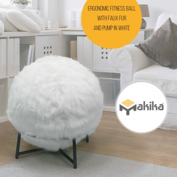 Makika Exercise Ball for Fitness / Yoga / Balance / Physical Therapy with Faux Fur and Pump - in White – Bild 1