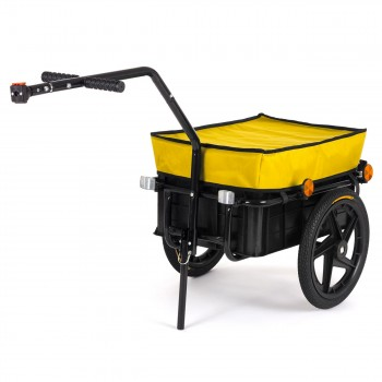 SAMAX Bicycle Bike Trailer for Transport 60 Kg / 70 Litre in Yellow – Bild 1