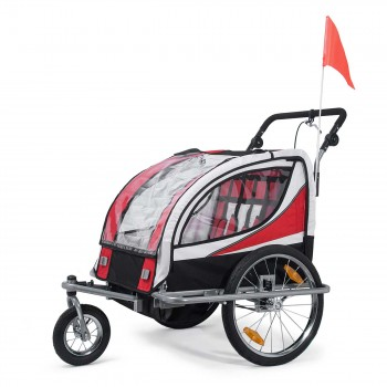 SAMAX Children Bike Trailer 2in1 Jogger 360° rotatable Stroller with Suspension - in Red - Silver Frame – Bild 1