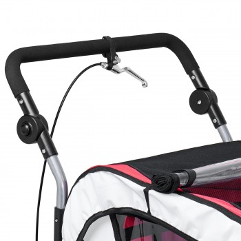 SAMAX Children Bike Trailer 2in1 Jogger 360° rotatable Stroller with Suspension - in Red - Silver Frame – Bild 12
