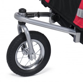 SAMAX Children Bike Trailer 2in1 Jogger 360° rotatable Stroller with Suspension - in Red - Silver Frame – Bild 8