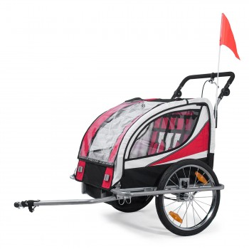 SAMAX Children Bike Trailer 2in1 Jogger 360° rotatable Stroller with Suspension - in Red - Silver Frame – Bild 2