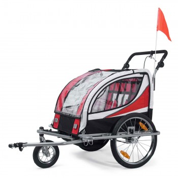 SAMAX Children Bike Trailer 2in1 Jogger 360° rotatable Stroller with Suspension - in Red - Silver Frame – Bild 7