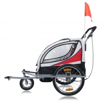 SAMAX Children Bike Trailer 2in1 Jogger 360° rotatable Stroller with Suspension - in Red - Silver Frame – Bild 3