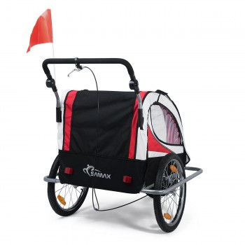 SAMAX Children Bike Trailer 2in1 Jogger 360° rotatable Stroller with Suspension - in Red - Silver Frame – Bild 5