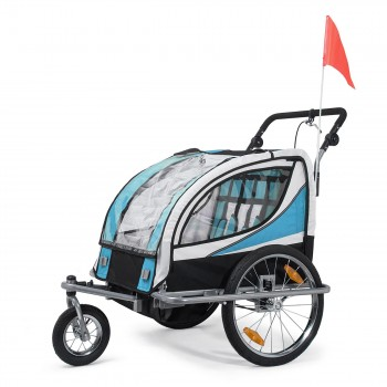 SAMAX Children Bike Trailer 2in1 Jogger 360° rotatable Stroller with Suspension - in Blue - Silver Frame – Bild 1