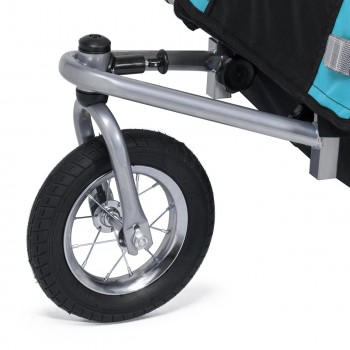 SAMAX Children Bike Trailer 2in1 Jogger 360° rotatable Stroller with Suspension - in Blue - Silver Frame – Bild 7