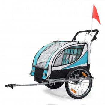 SAMAX Children Bike Trailer 2in1 Jogger 360° rotatable Stroller with Suspension - in Blue - Silver Frame – Bild 2
