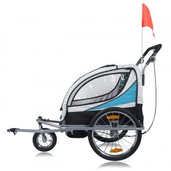 SAMAX Children Bike Trailer 2in1 Jogger 360° rotatable Stroller with Suspension - in Blue - Silver Frame – Bild 3