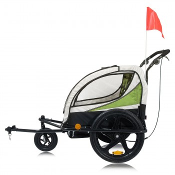 SAMAX Children Bike Trailer 2in1 Jogger 360° rotatable Stroller with Suspension - in Green - Black Frame – Bild 3