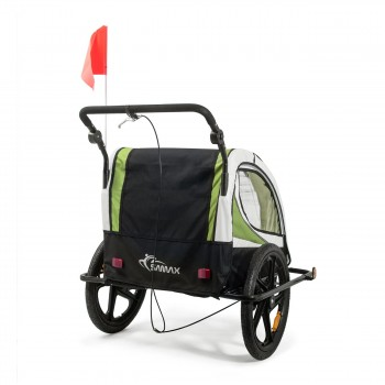 SAMAX Children Bike Trailer 2in1 Jogger 360° rotatable Stroller with Suspension - in Green - Black Frame – Bild 5