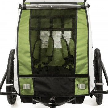 SAMAX Children Bike Trailer 2in1 Jogger 360° rotatable Stroller with Suspension - in Green - Black Frame – Bild 9