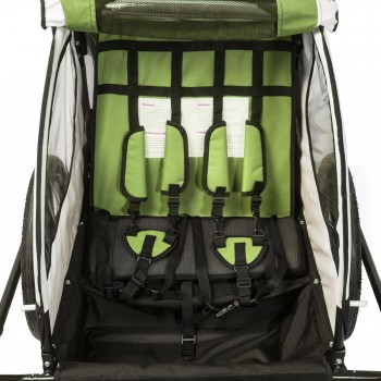 SAMAX Children Bike Trailer 2in1 Jogger 360° rotatable Stroller with Suspension - in Green - Black Frame – Bild 10
