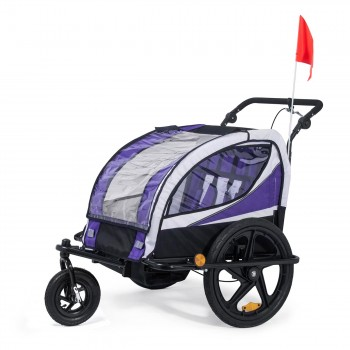 SAMAX Children Bike Trailer 2in1 Jogger 360° rotatable Stroller with Suspension - in Purple - Black Frame – Bild 1