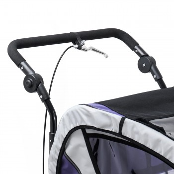 SAMAX Children Bike Trailer 2in1 Jogger 360° rotatable Stroller with Suspension - in Purple - Black Frame – Bild 11