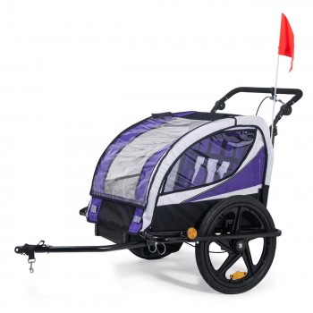 SAMAX Children Bike Trailer 2in1 Jogger 360° rotatable Stroller with Suspension - in Purple - Black Frame – Bild 2