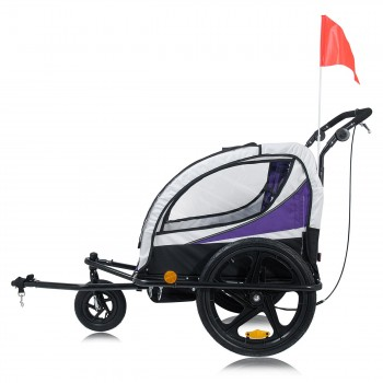 SAMAX Children Bike Trailer 2in1 Jogger 360° rotatable Stroller with Suspension - in Purple - Black Frame – Bild 3