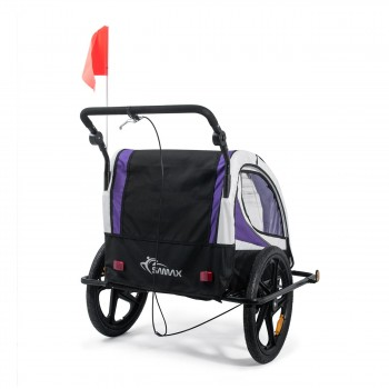 SAMAX Children Bike Trailer 2in1 Jogger 360° rotatable Stroller with Suspension - in Purple - Black Frame – Bild 5