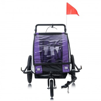SAMAX Children Bike Trailer 2in1 Jogger 360° rotatable Stroller with Suspension - in Purple - Black Frame – Bild 6