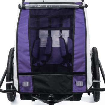 SAMAX Children Bike Trailer 2in1 Jogger 360° rotatable Stroller with Suspension - in Purple - Black Frame – Bild 9