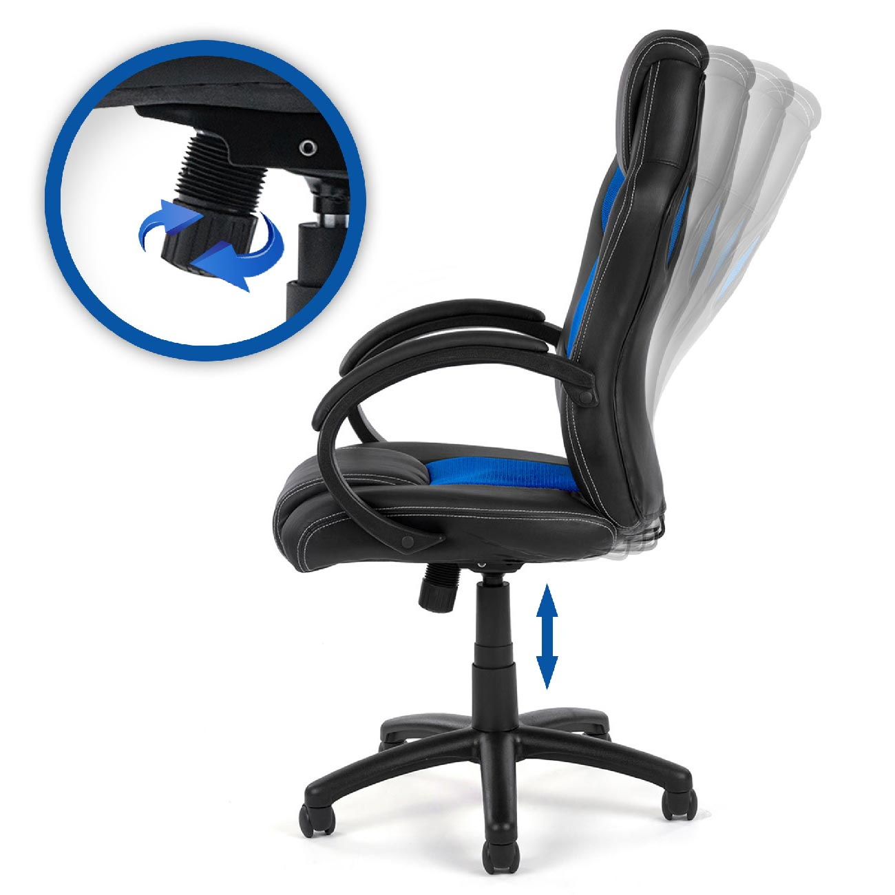 my sit chaise de bureau fauteuil si ge racing noir bleu. Black Bedroom Furniture Sets. Home Design Ideas