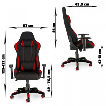 MY SIT Office Chair Racing Chair Red Racer – Bild 2