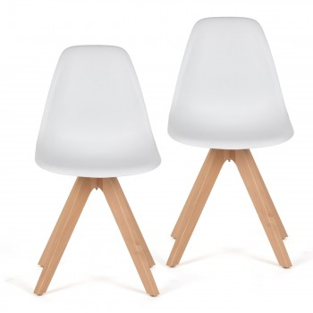 Makika Design Retro Dining Chair Set of 2 - BEEZ UP in White – Bild 2