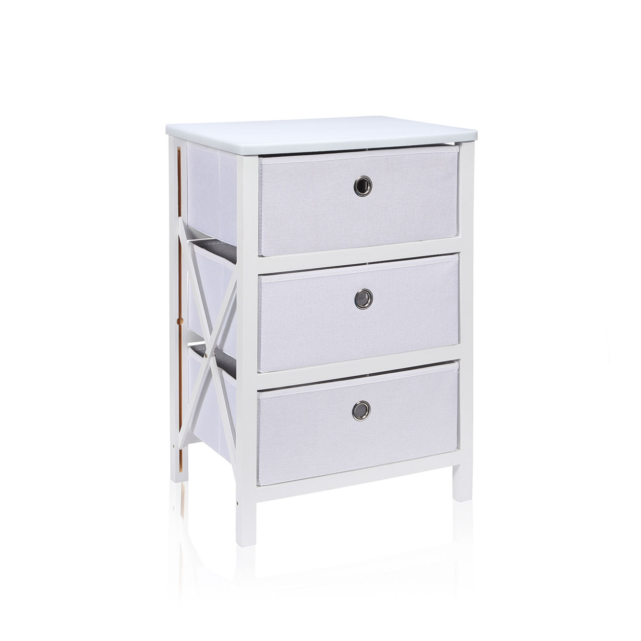 Makika commode pliable avec 3 tiroirs en blanc maison for Meuble bureau pliable