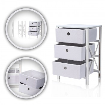 Makika Foldable Chest of drawers with 3 Drawers in White – Bild 1