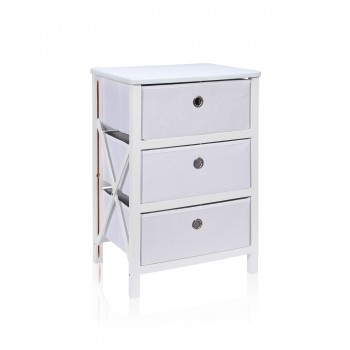 Makika Foldable Chest of drawers with 3 Drawers in White – Bild 3