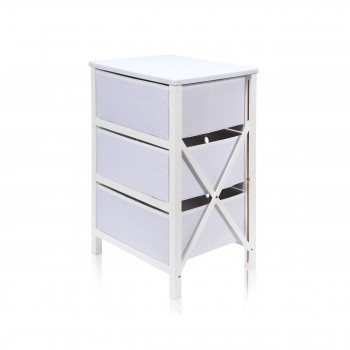 Makika Foldable Chest of drawers with 3 Drawers in White – Bild 6