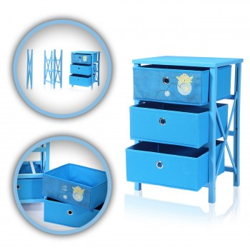 Makika Foldable Chest of drawers with 3 Drawers for Children in Blue – Bild 1