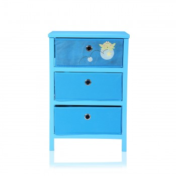 Makika Foldable Chest of drawers with 3 Drawers for Children in Blue – Bild 2