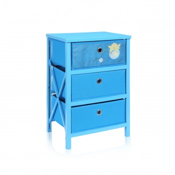 Makika Foldable Chest of drawers with 3 Drawers for Children in Blue – Bild 3