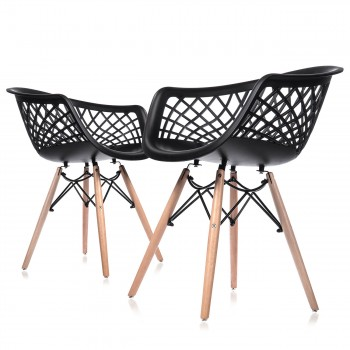 Makika Design Retro Dining Chair Set of 4 - SARA in Black – Bild 3