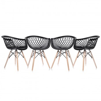 Makika Design Retro Dining Chair Set of 4 - SARA in Black – Bild 2