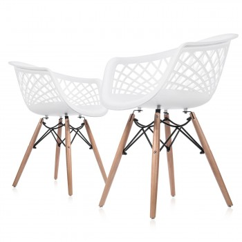 Makika Design Retro Dining Chair Set of 4 - SARA in White – Bild 3
